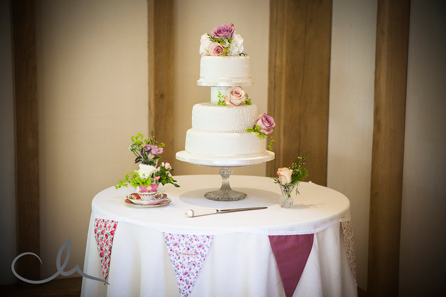 Wedding Cake at The Old Kent Barn Swingfield Kent
