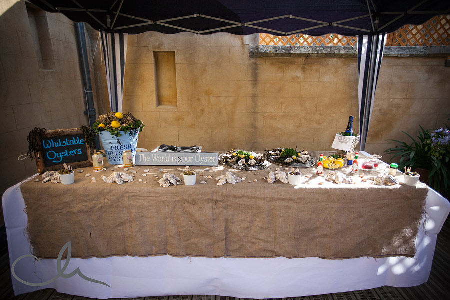 Oysters at Wedding Celebrations at Whitstable Castle Kent