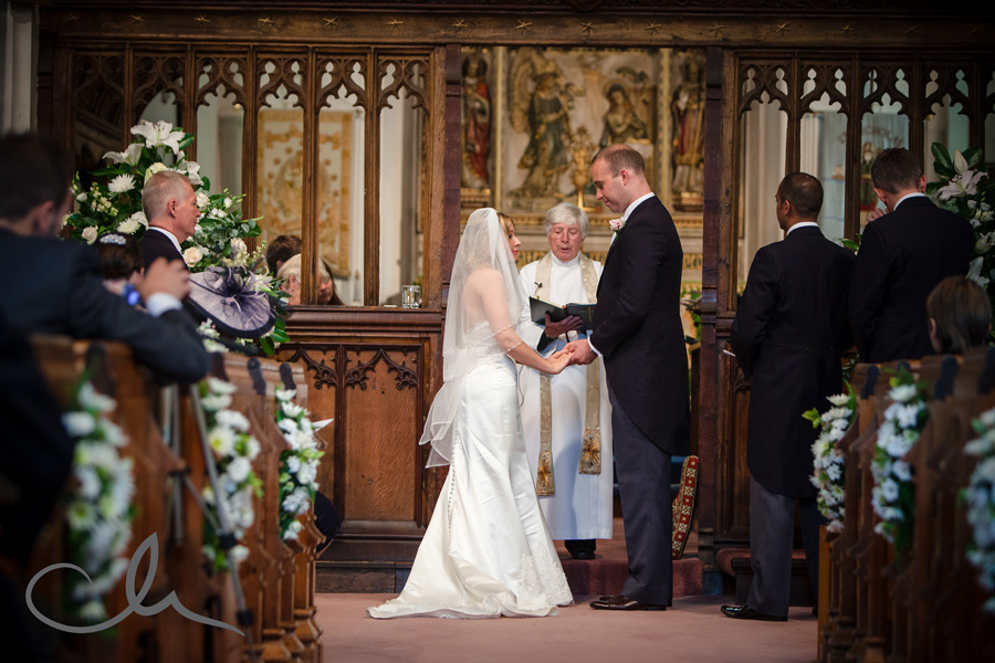Bride and Groom take their vows at Chislehurst Church in Kent