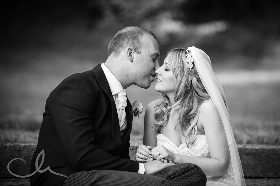 Bride and Groom's romantice portrait shot at Sundridge Manor Park Hotel in Bromley Kent