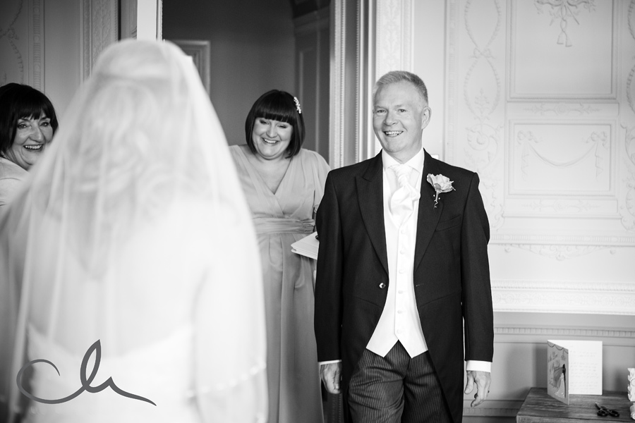 Father sees his daughter for first time in her bridal gown at Sundridge Manor Park Hotel Kent