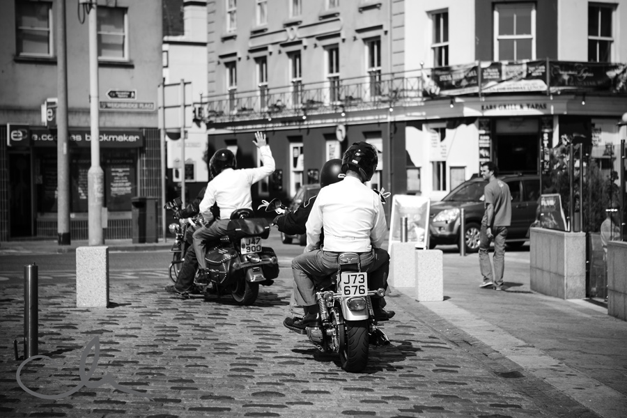 groom and his best man leave on motor bikes outside The Royal Yacht Hotel in Jersey