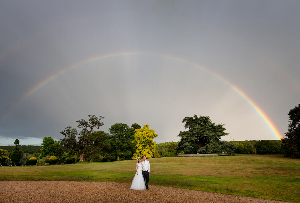 wedding rainbow at mount ephraim gardens