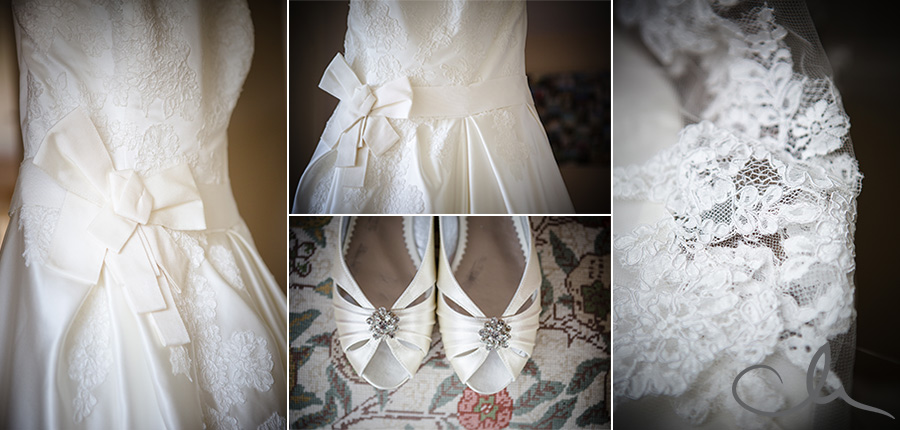 brides dress for Chartham Church wedding cereomy