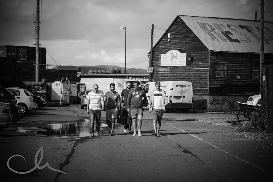 groom with groomsmen at The Lobster Shack Whitstable