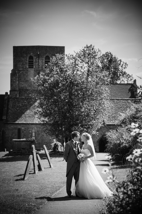 romatic image of newly wed couple at Lympne Castle Kent