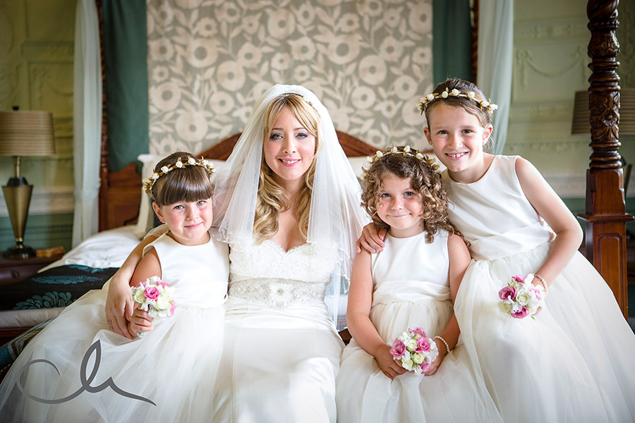 Sundridge-Park-Manor-Wedding-Photographer-Bride with her bridesmaids