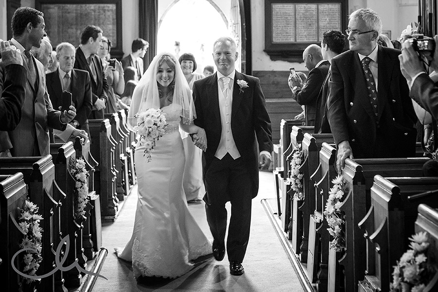 Bride arrives with Father at St Nicholas Church, Chistlehurst Kent