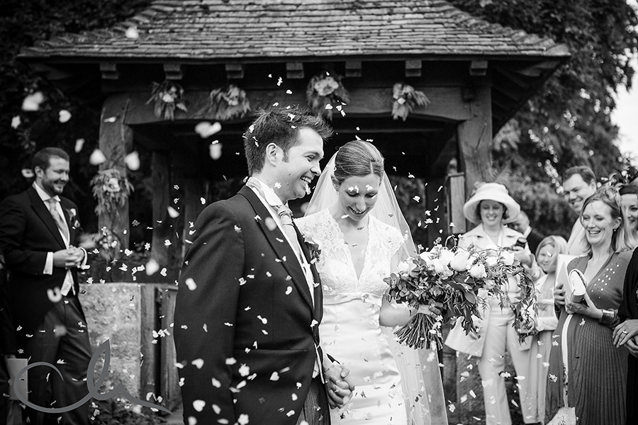 Wedding confetti at Lympne Castle