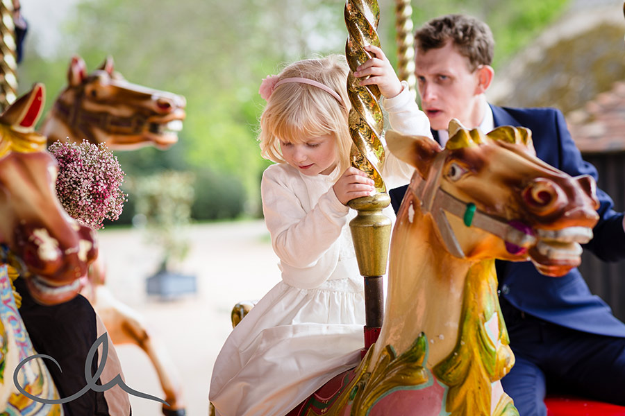 photos of carousel at Preston Court Wedding