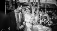 newly wed couple at Lympne Castle