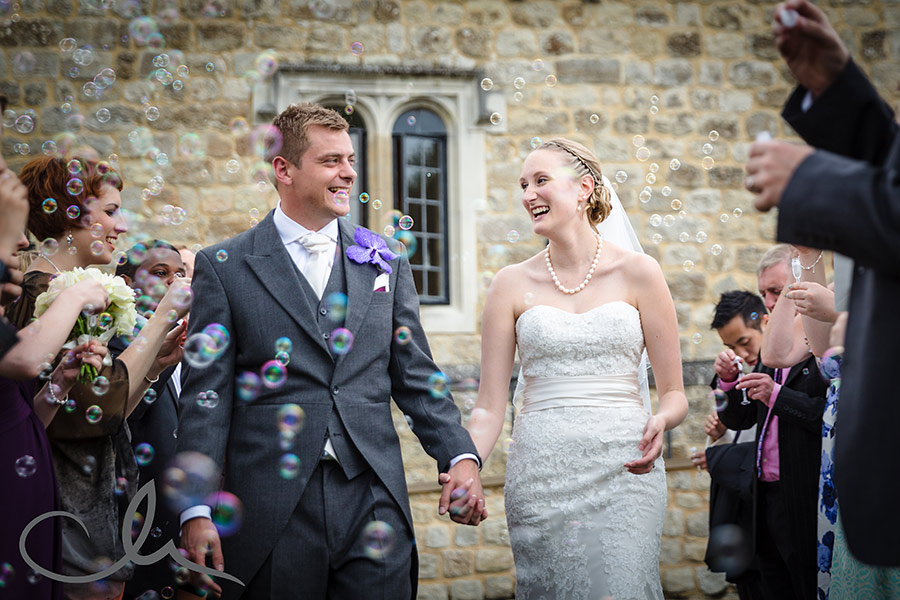 confetti bubles at Leeds Castle Wedding