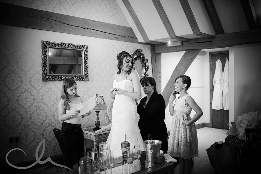 bridal preparations at The Old Kent Barn