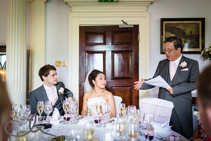 Brides father gives his speech at Chilston-Park-Kent-Wedding-Venue-40