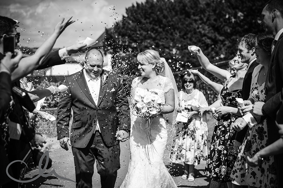 Newly weds and confetti at Kent Church
