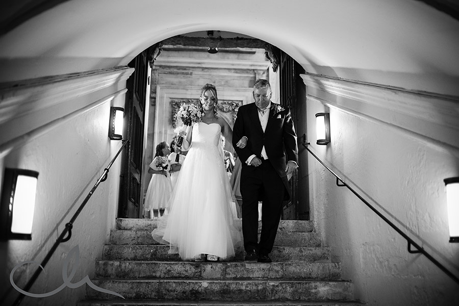 Bride arrives with Father at St Paul's Cathedral for ceremony