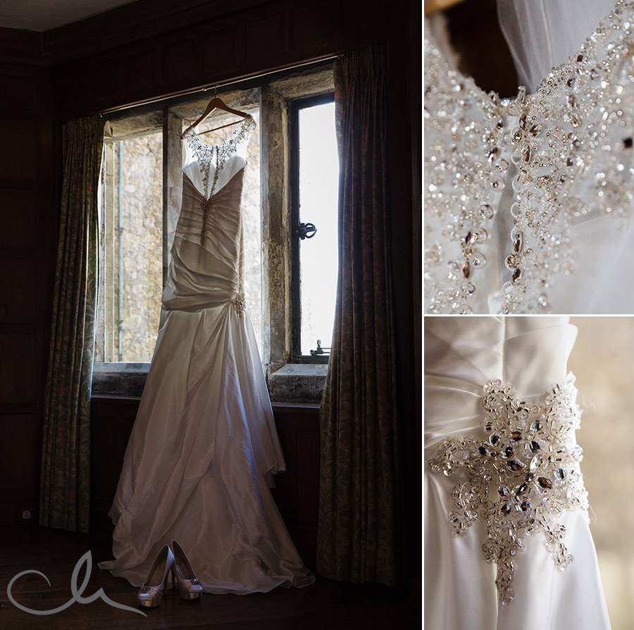 Brides-gown-at-Lympne-Castle-Wedding-Venue