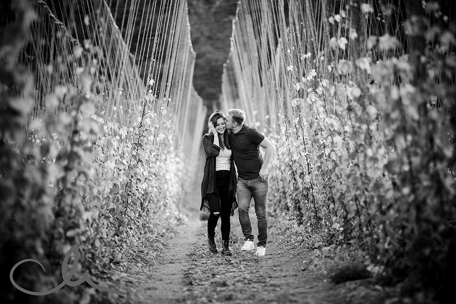 Amy & Matt's countryside engagement photography in Bridge, Kent