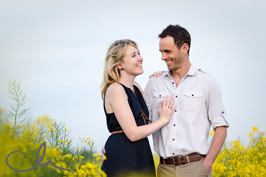 Mark and Kelli have photos taken in rape seed field