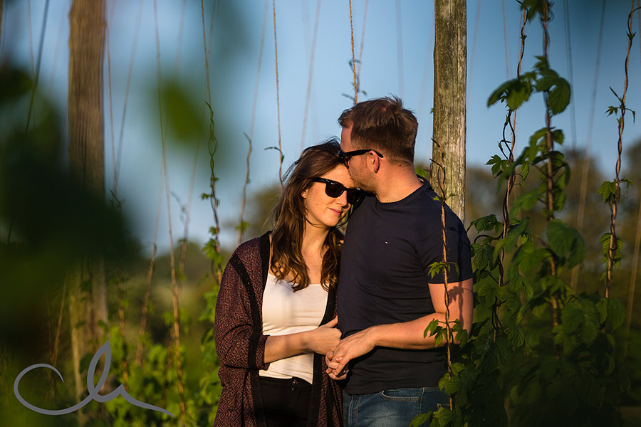 Matt and Amy's countryside engagement photos in Bridge, Kent