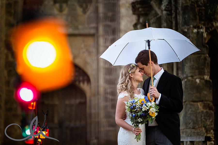bride and Groom have a romantic picture taken at Bodium Castle Wedding