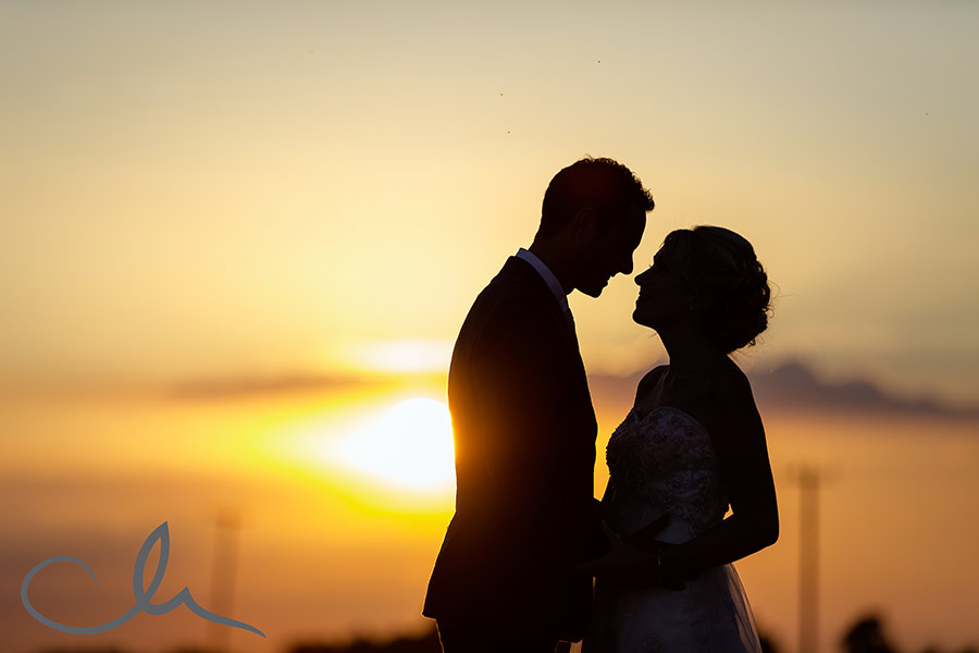 newly wed's sunset portrait photography at Great-Higham-Barn-Kent-Wedding