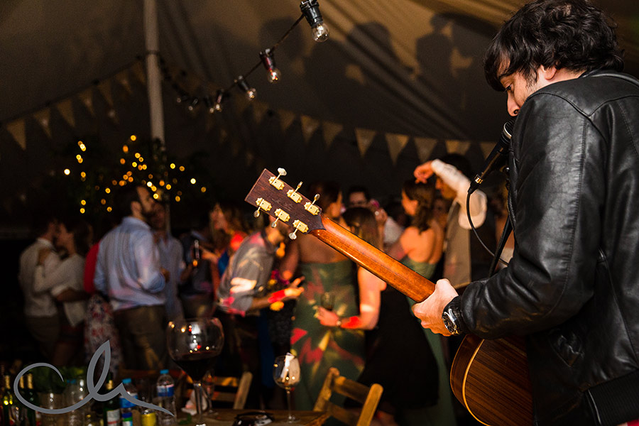 wedding party and dancing at Great-Higham-Barn-Kent-Wedding music by Will Udall