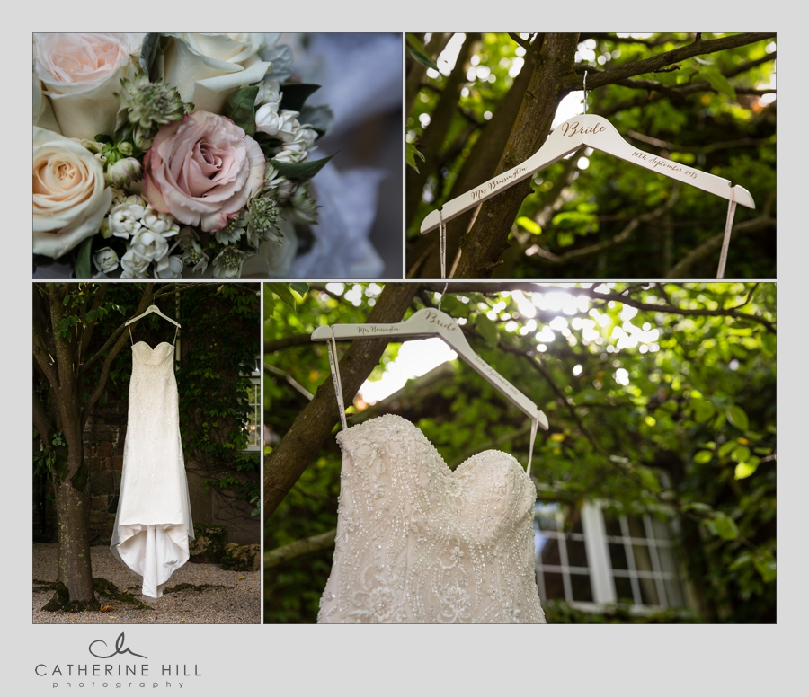 Brides dress at Longueville Manor