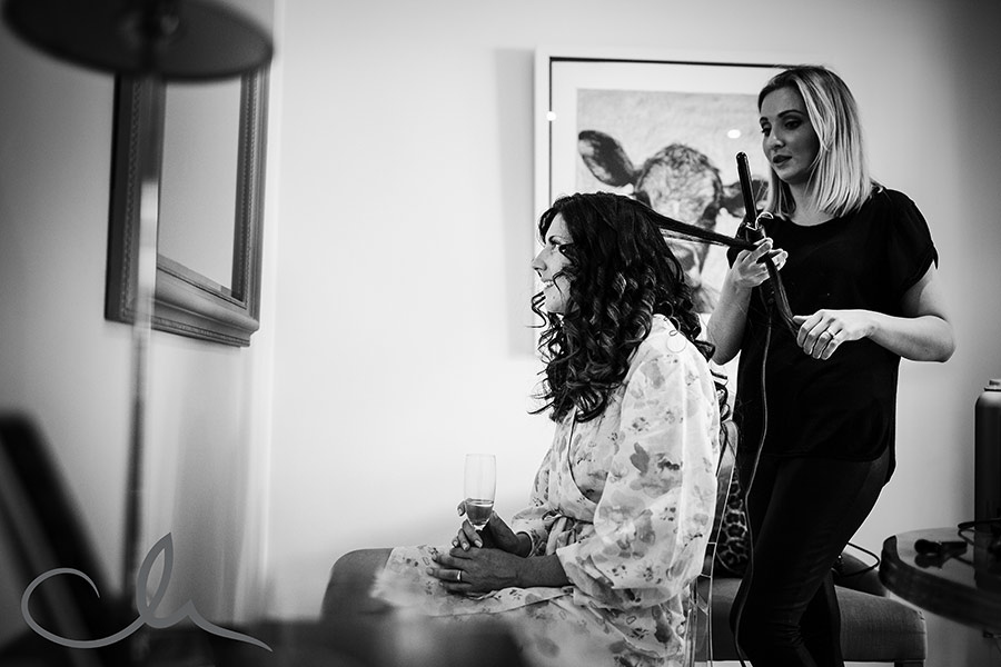 Bride has hair styled at Longueville Manor Jersey for her wedding day