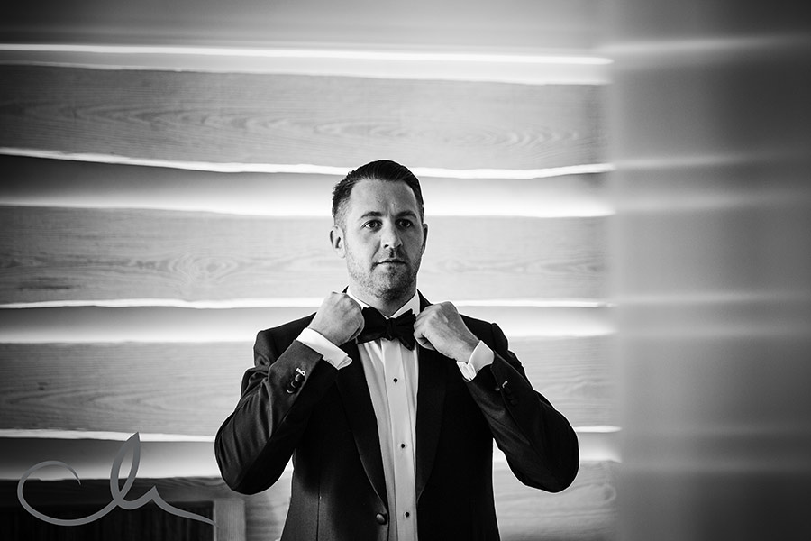groom gets ready for his wedding at The Royal Yacht Hotel Jersey