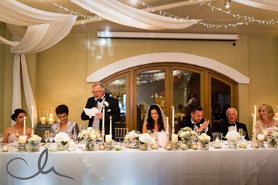 father of the bride gives his speech at Harry and Amanda's La Mare Wine Estate Wedding