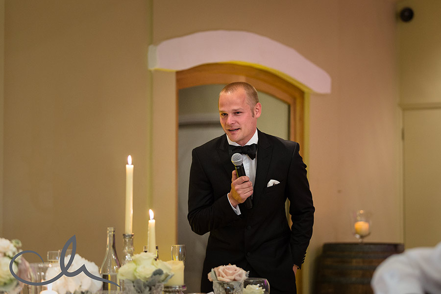 Best man gives his speech at La Mare Wine Estate Wedding