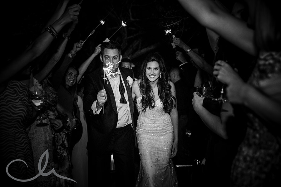 Sparklers at Harry-&-Amanda's-La Mare Wine Estate Wedding-