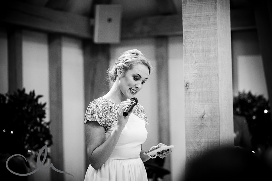 Bride's sister gives her speech at their Old-Kent-Barn-Wedding