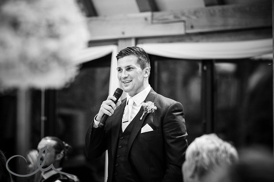 Groom gives his speech at The-Old-Kent-Barn-Wedding