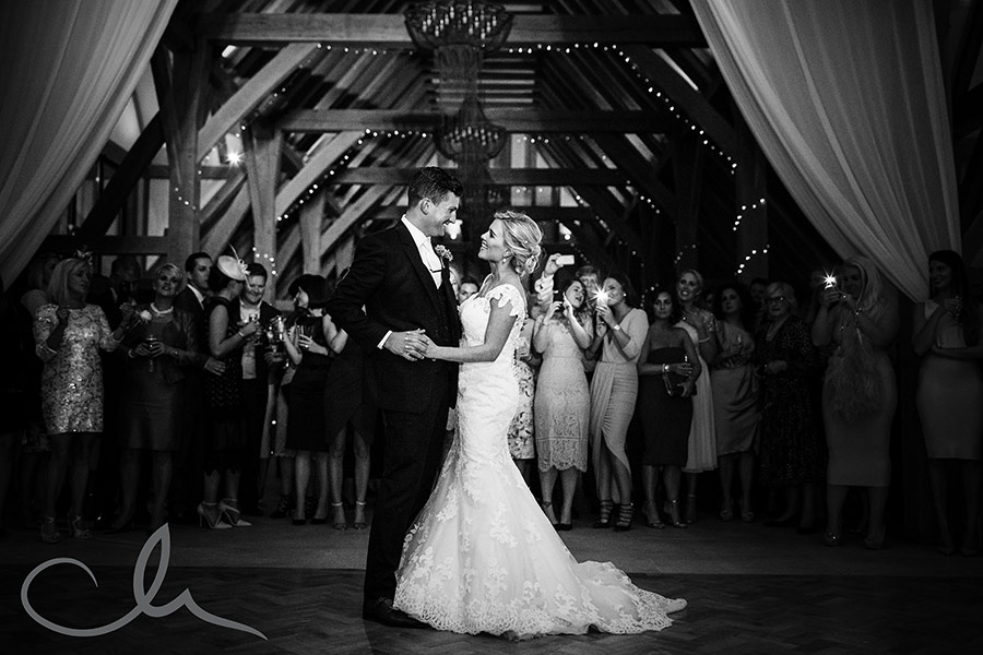 newlyweds first dance at The-Old-Kent-Barn