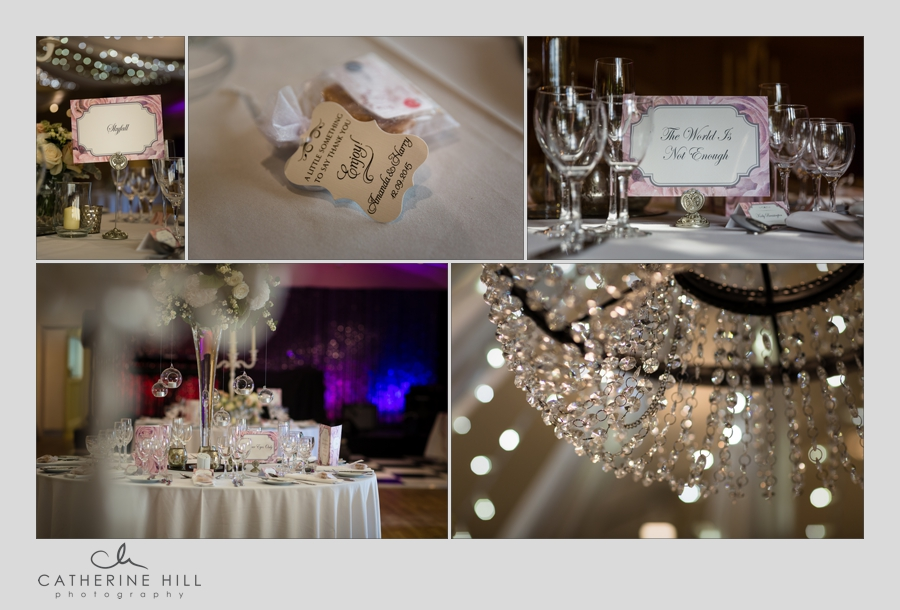 Wedding breakfast decorations at La Mare Wine Estate Jersey