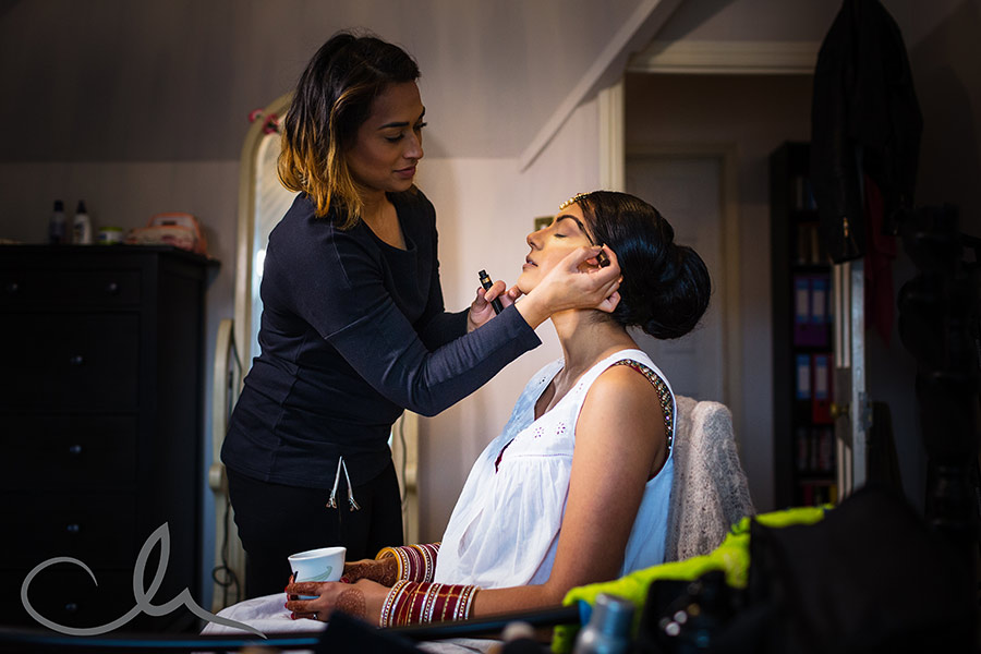 Sikh Bride has make up applied for her wedding day