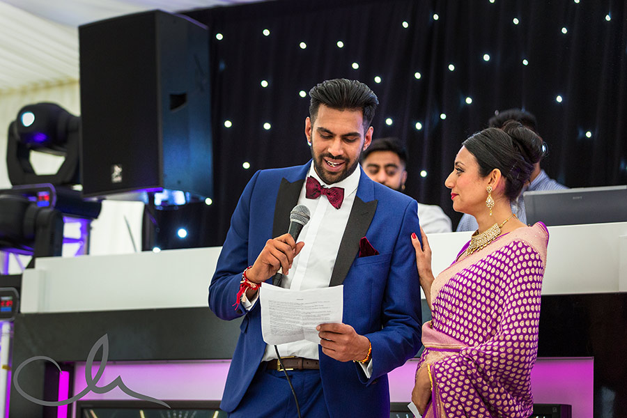 the brides brother gives his speech at their Sikh Wedding in Kent