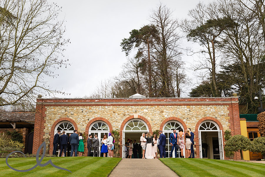 guests gather at the Orangery Maidstone for Paul and Paula's wedding
