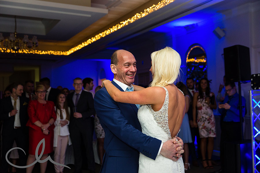 Bride dances with her father at her orangery maidstone wedding