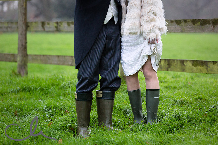 newleyweds-Sarah-&-Dan-wear-wellies-for-their-Chilham-Village-Hall-Wedding-reception