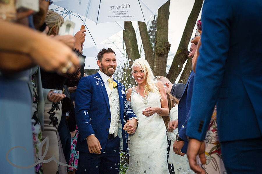 confetti throwing at the Orangery Maidstone Wedding Venue