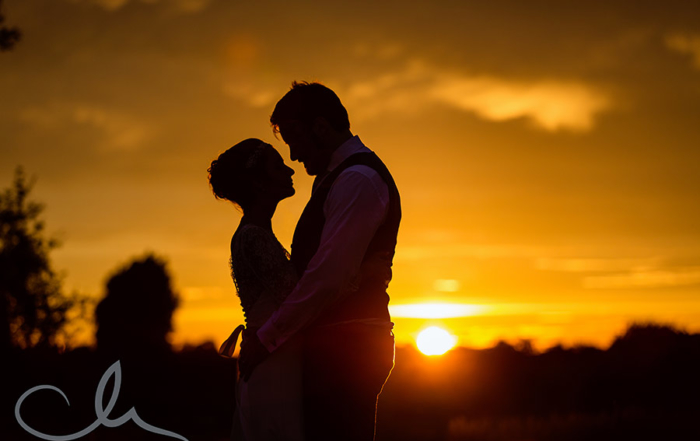 Newlyweds sunset portrait shoot at The Old Kent Barn