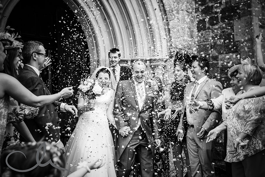 newlyweds are showered with confetti at Christ Church Southgate