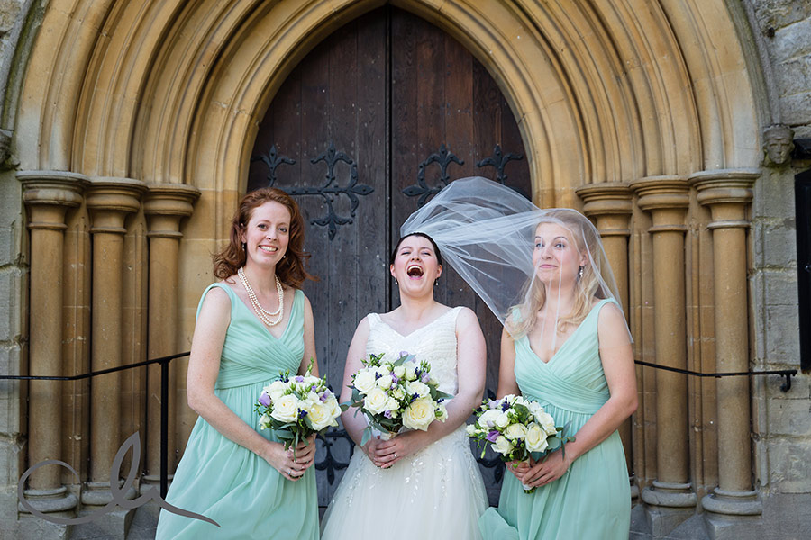Bride and Bridesmaids at Christ Church Southgate London malfunctioning veil