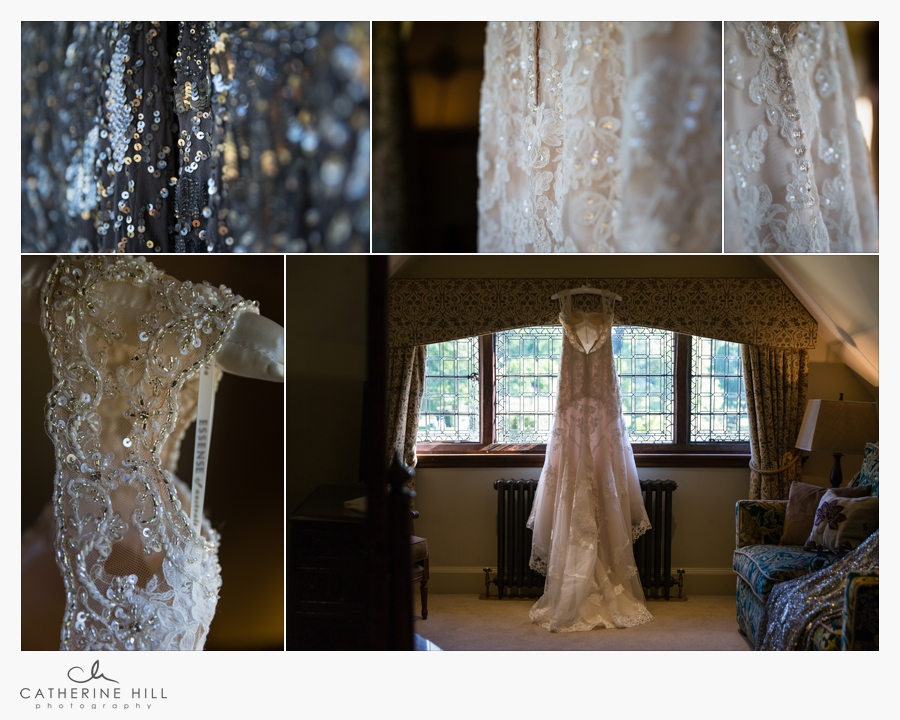 brides dress details at Hever Castle Wedding