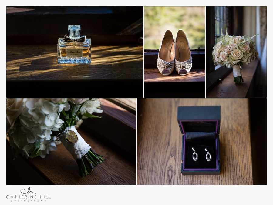 Brides shoes and perfume details at Hever Castle Wedding