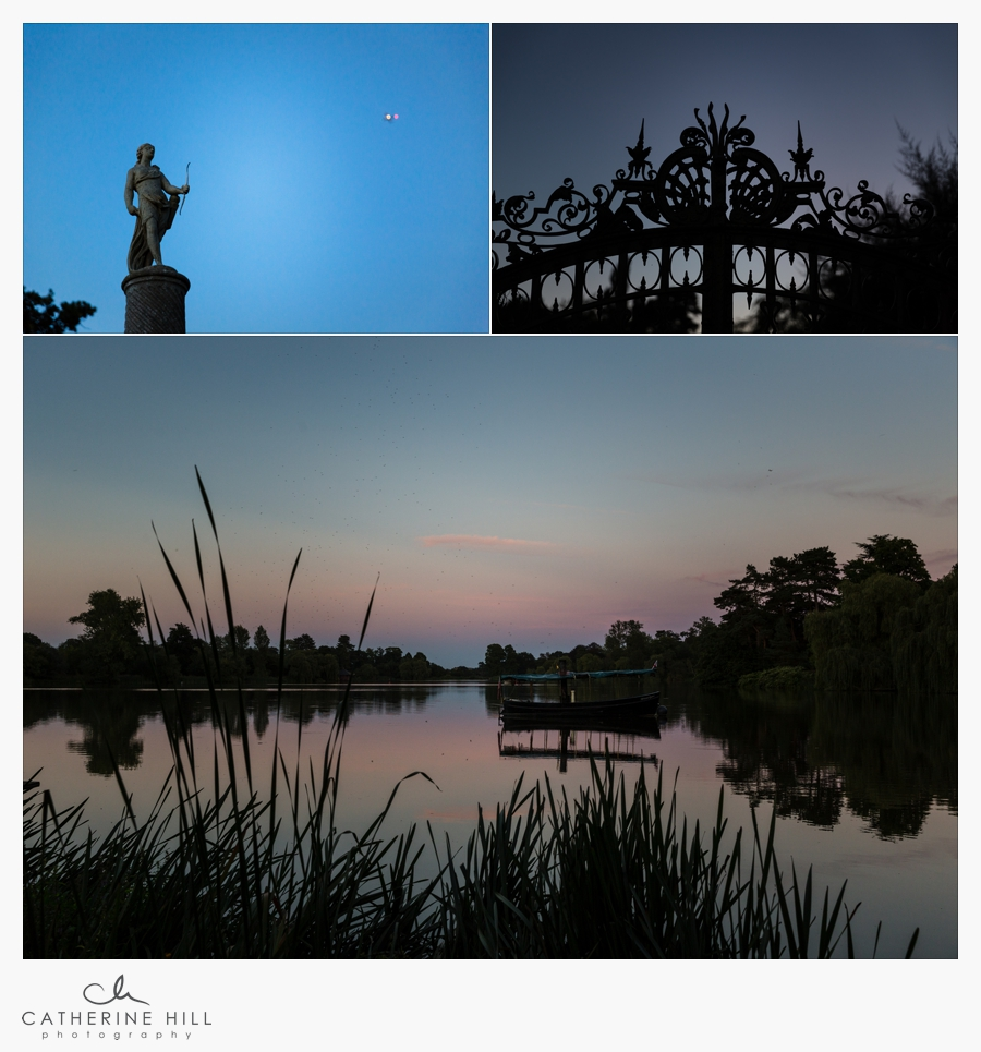 photographs at dusk of the grounds of Hever Castle - fabulous Kent Wedding Venue
