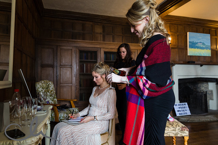 Lympne Castle Wedding Photos - the bride writes her speech for her wedding day